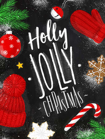 Christmas poster lettering holly jolly christmas drawing in vintage style on chalkboard Illustration