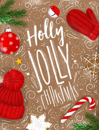 공예에 빈티지 스타일로 그리기 크리스마스 포스터 레터 홀리 유쾌한 크리스마스