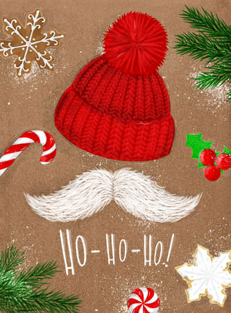Christmas poster with hat, mustache, candy, cookie, christmas tree lettering ho ho ho drawing on craft