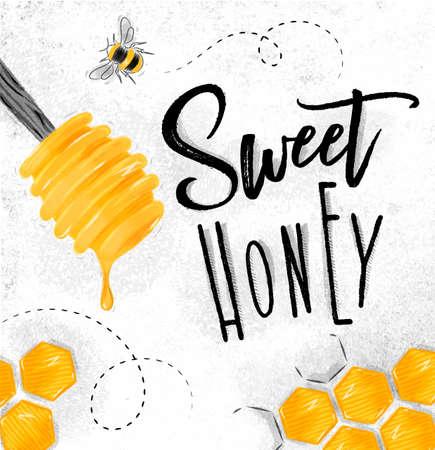 Affiche geïllustreerde honingslepel, honingraten die van zoete honing van letters voorzien die op vuile document achtergrond trekken