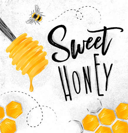 Plakat veranschaulichte Honiglöffel, die Bienenwaben, die süße Honigzeichnung auf schmutzigem Papierhintergrund beschriften Standard-Bild - 85193527