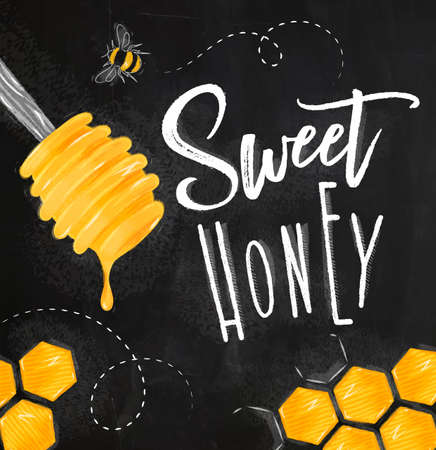 Poster illustrated honey spoon, honeycombs lettering sweet honey drawing on chalk background Illustration