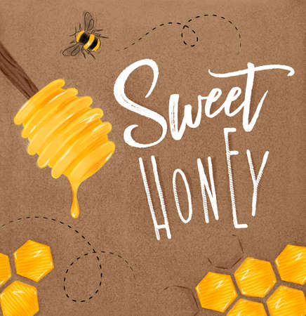 Poster illustrated honey spoon, honeycombs lettering sweet honey drawing on craft Illustration