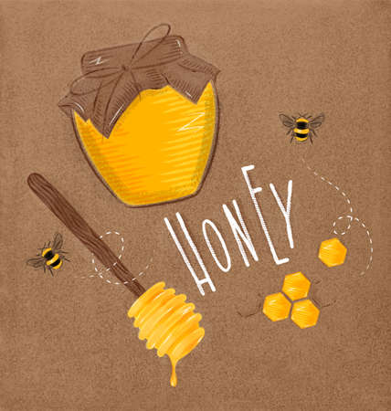 Illustrated elements honey spoon, honeycombs, bank with honey, bees lettering honey drawing on craft