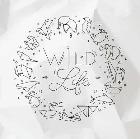 Animals origami monogram snake, elephant, bird, seahorse, frog, fox, mouse, butterfly, pelican, wolf, bear, rabbit, crab, shark, horse, fish, parrot, monkey, pig, turtle, penguin, giraffe, cat, panda, kangaroo lettering wild life Illustration