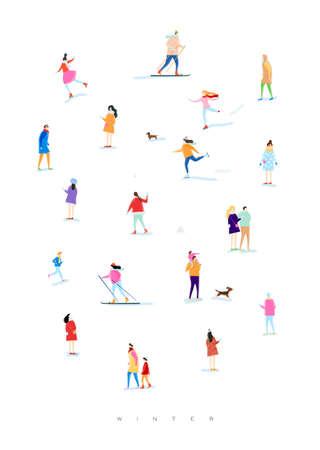 Plakat ilustrowany ludziom na zimowym spacerze, grając w śnieżki, jeżdżąc na nartach, jeżdżąc na łyżwach, bawiąc się z dzieckiem i psem, kochankowie spacerują rysując kolorem na białym tle Ilustracje wektorowe