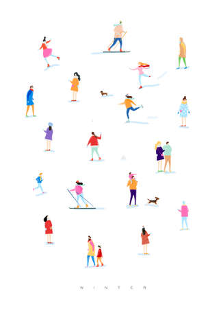 Poster illustrated people on a winter walk, playing snowball, skiing, skating, playing with kid and dog, lovers walk drawing with color on white background