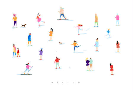 Illustrated people on a winter walk, playing snowball, skiing, skating, playing with kid and dog, lovers walk drawing with color on white background