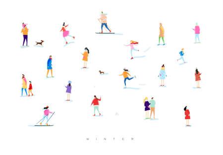 Geïllustreerde mensen op een winterwandeling, sneeuwballen, skiën, schaatsen, spelen met kind en hond, geliefden lopen tekenen met kleur op witte achtergrond