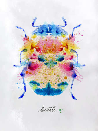 monotype: Monotype vivid colorful beetle.