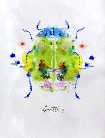 Monotype colorful beetle.