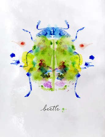 monotype: Monotype colorful beetle.
