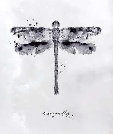 Monotype-Libellenzeichnung mit Schwarzweiss auf Papierhintergrund Standard-Bild - 88253166