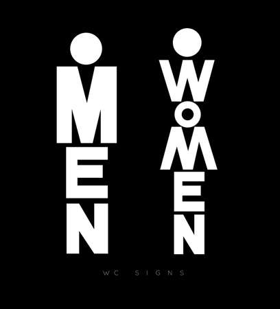 Toilet door plate lettering men and women drawing with white on black background Illustration