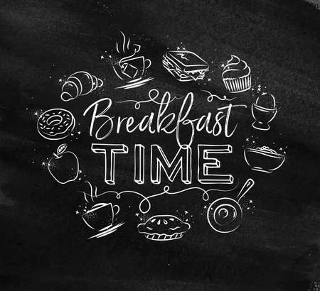 Breakfast time monogram with food icon drawing with chalk on chalkboard