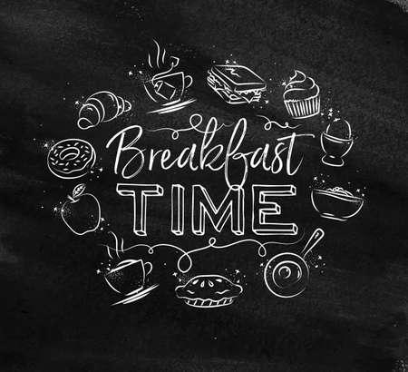 Ontbijt tijd monogram met voedsel pictogramtekening met krijt op schoolbord