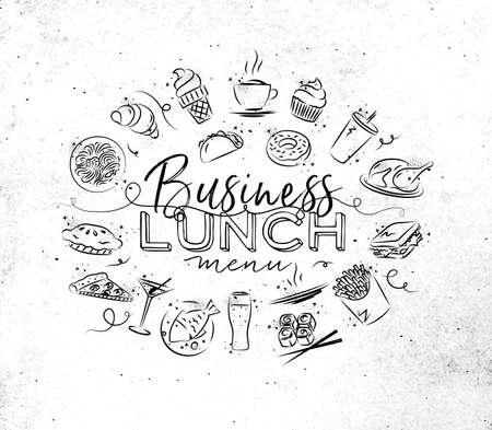 汚れた紙の背景上に描画食品アイコンとビジネス ランチ ・ モノグラム  イラスト・ベクター素材