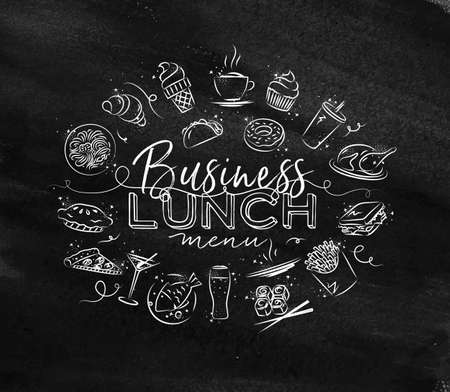 Business lunch monogram with food icon drawing with chalk on chalkboard Ilustração