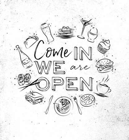We are open monogram with food icon drawing on dirty paper background