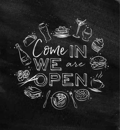 私たちは、黒板にチョークで描く食べ物アイコンと開いているモノグラム