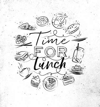 Time for lunch monogram with food icon drawing on dirty paper background