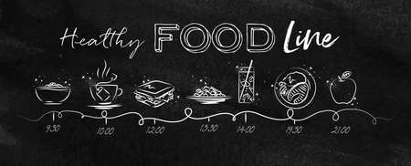 Timeline on healthy food theme illustrated time of meal and food icons drawing with chalk on chalkboard