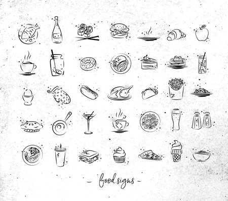 Reeks voedselpictogrammen die met zwarte lijnen op vuile document achtergrond trekken Stock Illustratie