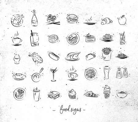 Set of food icons drawing with black lines on dirty paper background Illustration