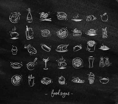 黒板にチョークで描く食品のアイコンのセット