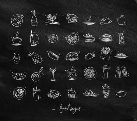 Set of food icons drawing with chalk on chalkboard Stock Vector - 88670221
