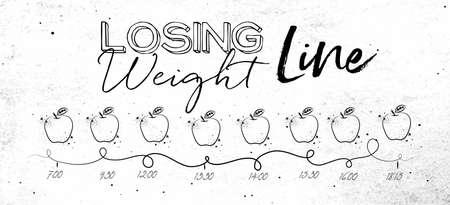 다이어트 잃고 무게 테마에 더러운 종이 배경에 검은 선 그리기 식사 및 음식 아이콘의 시간을 보여줍니다.