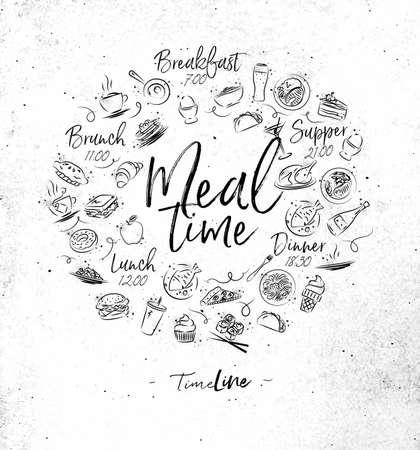 汚れた紙の背景に食品アイコンを描画した食事時間モノグラム