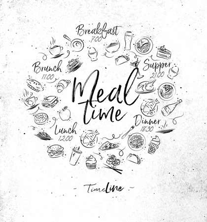 Meal time monogram with food icon drawing on dirty paper background