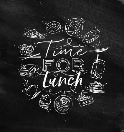 Time for lunch monogram with food icon drawing with chalk on chalkboard