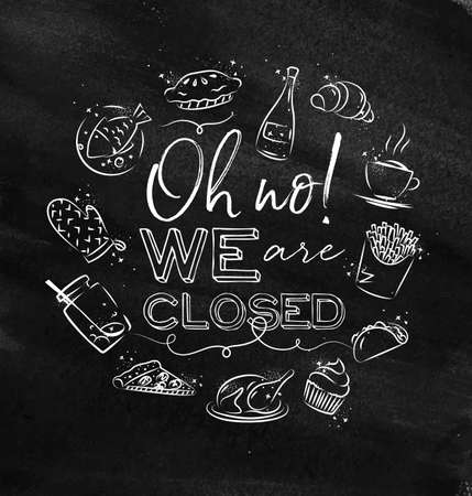 We are closed monogram with food icon drawing with chalk on chalkboard