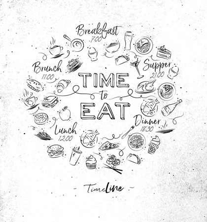 汚れた紙の背景上に描画食品アイコンのモノグラムを食べる時間