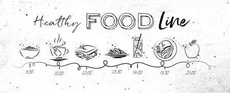 健康食品テーマにタイムラインが汚れた紙の背景に黒い線で描く食事と食品のアイコンの時間を示す  イラスト・ベクター素材