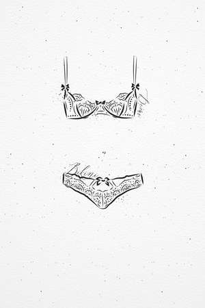 Underwear fashion bikini drawing in vintage style on watercolor paper background Illustration