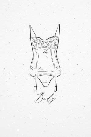 Ondergoed mode lichaamstekening in vintage stijl op aquarel papier achtergrond Stock Illustratie