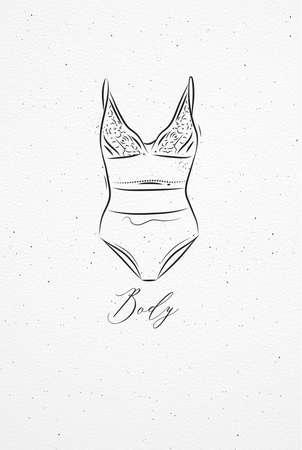 Sous-vêtements bodydrawing dans un style vintage sur fond de papier aquarelle Banque d'images - 88993080