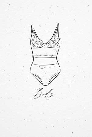 Underwear bodydrawing in vintage style on watercolor paper background