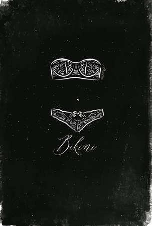 ビンテージ スタイルの描画の下着ファッション ビキニ。