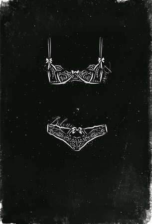 빈티지 스타일 드로잉에서 속옷 패션 비키니입니다. 스톡 콘텐츠 - 89000764