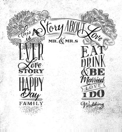 Wedding and engagement backdrop in retro style drawing on dirty paper background