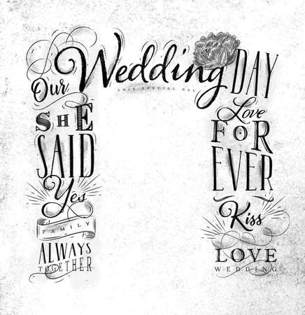 Wedding and engagement backdrop drawing on dirty paper background.