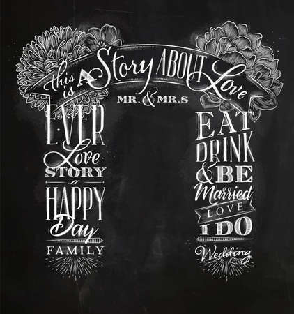 Wedding and engagement backdrop in retro style drawing with chalk on chalkboard background