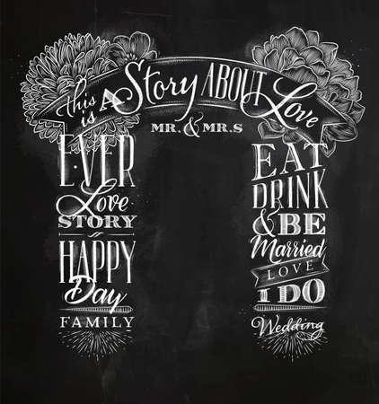 복고 스타일의 결혼식과 약혼 배경 분필로 칠판 배경에 그리기 스톡 콘텐츠 - 91592789