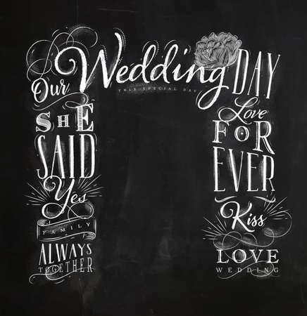 黒板の背景にチョークで結婚式と婚約の背景描画