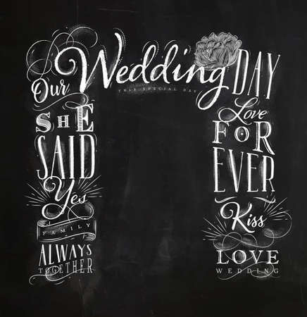 Wedding and engagement backdrop drawing with chalk on chalkboard background