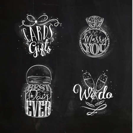 Wedding symbols lettering cards and gifts. Want to marry you, best, day ever, we do drawing with chalk on chalkboard background. Illustration